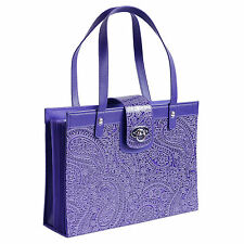 Fashion File Organizer Tote with Purple Paisley Faux Leather