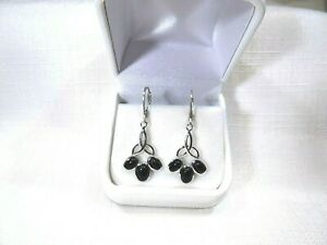 3.80ct Natural Onyx (Black) Solid Sterling Silver Celtic Knot Leverback Earrings