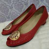 Vittorio Carli Peep Toe Shoes Womens Size 9 M Red Woven Leather Made in Italy