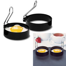2 pcs Stainless Steel Round Non-stick Pancake Egg Ring Mould With Thick Handle