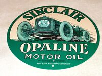 "VINTAGE ""SINCLAIR OPALINE OIL AUTOMOBILE"" 11 3/4"" PORCELAIN METAL GASOLINE SIGN!"