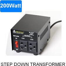 200W STEP DOWN TRANSFORMER STEPDOWN 240V - 110V BLACK