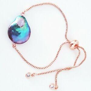 Big Baroque Black Pearl Adjustable Bracelet 18k Gold Filled Natural Pearls Gift
