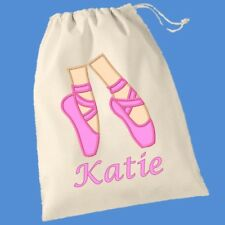 PERSONALISED BALLET SHOES BALLERINA PE PUMP GYM SCHOOL DRAWSTRING COTTON BAG