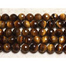 Perles de Pierre - Oeil de Tigre Boules Facettés 6mm Fil de 39 cm