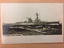 WW2 Postcard - German Battleship Postcard