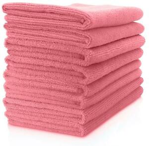5 x Pink Microfibre Cleaning Polishing Cloths Towels 40x40 Lint and Scratch free
