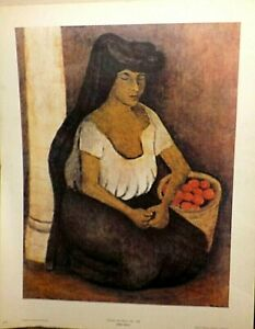 RUFINO TAMAYO WOMAN WITH BLACK COIF LITHOGRAPH PRINT 22 X 29 INCHES