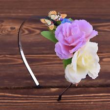 Serre-tête fleurs couronne papillon ivoire violet vert