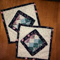 Handmade Patchwork Quilted Pot Holders Shades of Blue Florals Hot Pads Set of 2