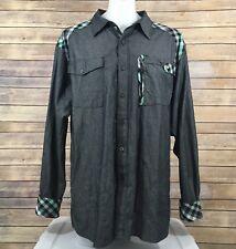 ENYCE Sean Combs Co. MEN Shirt SZ 2XL Gray Button Down 100% Cotton Casual