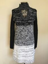 Minkpink Sweater Dress Ombre Sheer Sleeves Black Gray Keyhole Neck Small