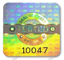 1029x LARGE TESTED Security Hologram Stickers, 20mm Square, Warranty Labels QC