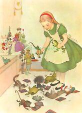 ALice In Wonderland Green Dress Vintage Illustration w Animals 5x7 Fabric Block
