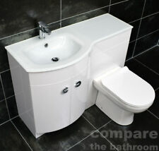Macey P Shape Vanity Set D Shape Glass Basin Toilet + Sink Bathroom Suite White
