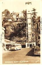 RPPC OREGON CITY ELEVATOR BUS & TAXI CAR REAL PHOTO POSTCARD (c. 1940s)