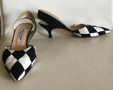 Manolo Blahnik Pumps Heels Black White Checkered 37 1/2 BARRIE CHASE COLLECTION