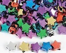 "50 Star Metallic Pony Bead Plastic Gold Silver Red 3/8"""