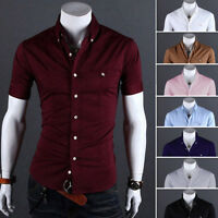 Mens Fashion Luxury Casual Slim Fit Dress Shirts Stylish Short Sleeve T-Shirts q