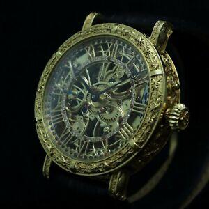 Vintage skeletonized wristwatch Savoe Freres 24k gold plated