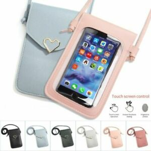 Touchable Screen PU Leather Change Bag Phone Pouch Wallet Crossbody Women Gift