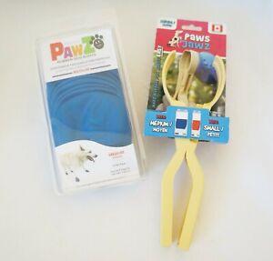 Protex PawZ Rubber Dog Boots, Waterproof, Reusable, Blue Sz Medium & Paws Jawz