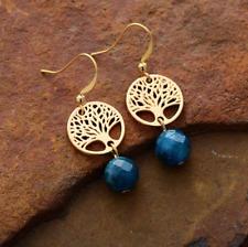 Large Natural Gemstone Labradorite Gold Tree of Life Dangle Drop Earrings Boho