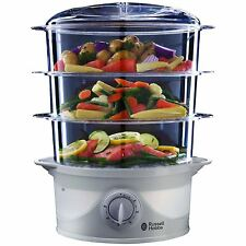 Russell Hobbs 3-Tier 9 Litre Food Vegetable Steamer Healthy 800W - 21140, White