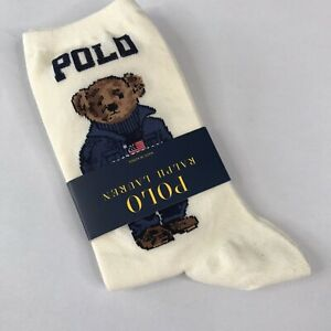 Polo Ralph Lauren Women's Polo Bear Trouser Socks Ivory, Americana Bear, Flag