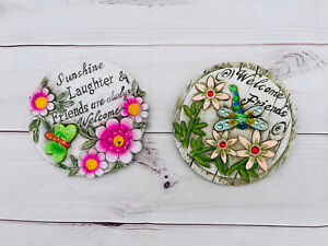 """2 Stepping Stones """"Welcome Friends"""" Sunshine Dragon Fly Butterfly - N"""