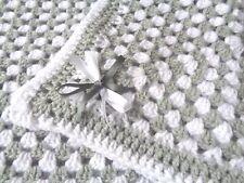 White & Grey Crochet Baby Pram Blanket / Crib New Eus 23 X 23