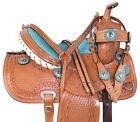Western Leather Horse Saddle Kids Youth Pleasure Trail Barrel Show Tack Set 14