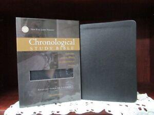 NKJV Chronological Study Bible **COWHIDE LEATHER -Black ** Rare!    NEW!