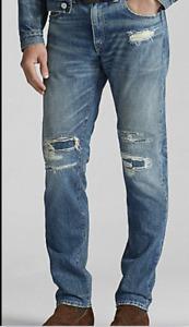 Ralph Lauren RRL Faded Slim Narrow Zip Fly Repaired Denim Jeans New $295