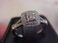 *VINTAGE STYLE*NATURAL DIAMOND HALO PROMISE RING 10K WHITE GOLD sz7   *BUY NOW*