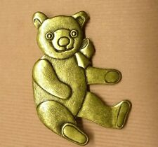 Handcrafted Teddy Bear Gold Plated USA Decorative Casablanca Pin Brooch Vintage
