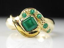 Emerald Ring 18K Yellow Gold Estate Fine Jewelry Green Square Retro Size 6.75