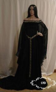 medieval wedding dress, black celtic gown crushed velvet, off shoulder, leaves