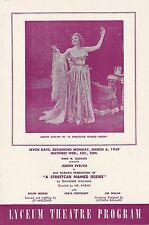 """Tennessee Williams """"A STREETCAR NAMED DESIRE"""" Judith Evelyn 1950 Playbill"""