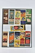 Vintage Lot Nicely Framed Matchbook Covers Mennen Squibb Vicks Listerine Stopit