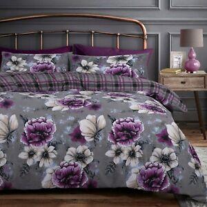 Cassia Purple Floral Bedding Plaid Check Duvet Cover & Pillowcase Set