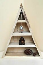 wooden triangular curiosity moon crystal storage shelf handmade shelving wood