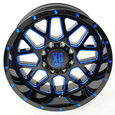 "20"" 0 KMC XD820 Grenade Blue Tint Black Wheels Rims 6x5.5 6 lug Chevy GMC Toyota"