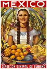 VINTAGE MEXICAN ART PRINT - Senorita with Fruit MEXICO 27x18 Travel Poster
