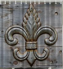 Fleur De Lis Rustic Wood Plank Board Fabric SHOWER CURTAIN Weathered Lily Flower