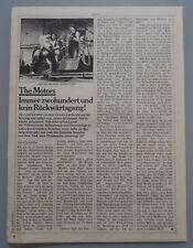 THE MOTORS  -  Clipping/Bericht aus dem Jahr 1978 - Musikzeitschrift