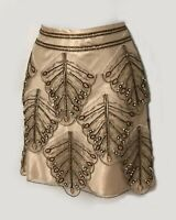 Karen Millen UK 10 Cream Embellished Beaded Cocktail Party Prom Mini Skirt EU 38