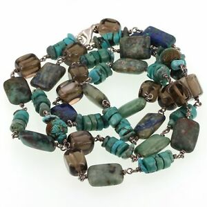 """Retired Silpada Sterling Turquoise Azurite Smoky Quartz Bead 32"""" Necklace N1647"""