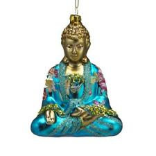 "BUDDHA GLASS CHRISTMAS ORNAMENT 5"" Blue Turquoise Kurt Adler Butterfly Flower"
