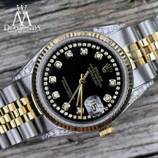 Black Rolex 31mm Datejust 2 Tone String Diamond Shoulders & Numbers 18K & SS